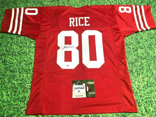 JERRY RICE AUTOGRAPHED SAN FRANCISCO 49ERS R JERSEY AASH