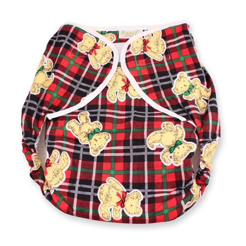Omutsu Bulky Nighttime Cloth Diaper - Plaid Teddy