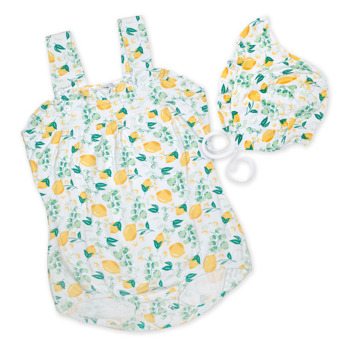 Lemon Sunsuit with Bonnet