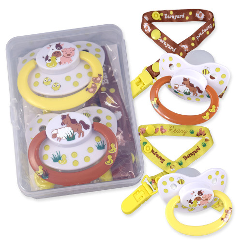 Barnyard Pacifier and Clip 2 Pack
