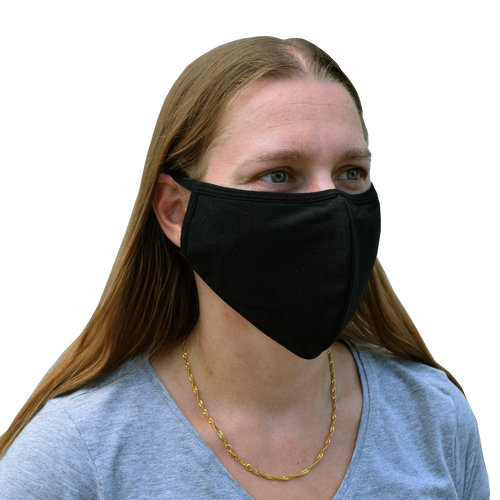 2 Black Washable Mask With Ties