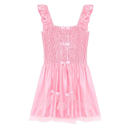 Shirred Pink Satin Summer Dress
