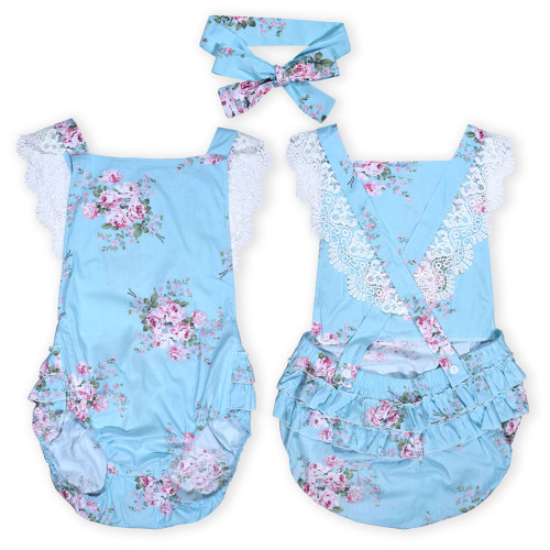 Flowered Littles Romper with Bow