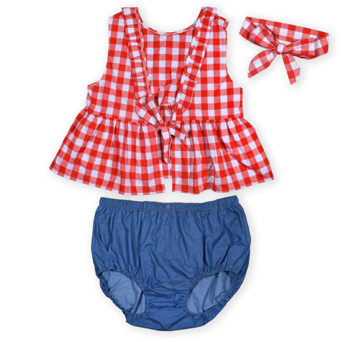 Plaid Denim Littles Outfit with Bow