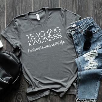 Teaching Kindness #SchoolCounselorLife Unisex Tee (Stone)