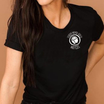Student Mental Health Matters with Logo in the Pocket Area Unisex Tee