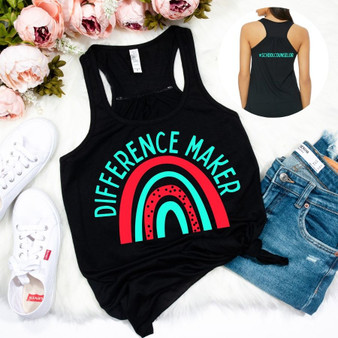 Rainbow Difference Maker School Counselor Woman's Racerback Tank