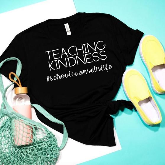 Teaching Kindness #SchoolCounselorLife Unisex Tee (Black)