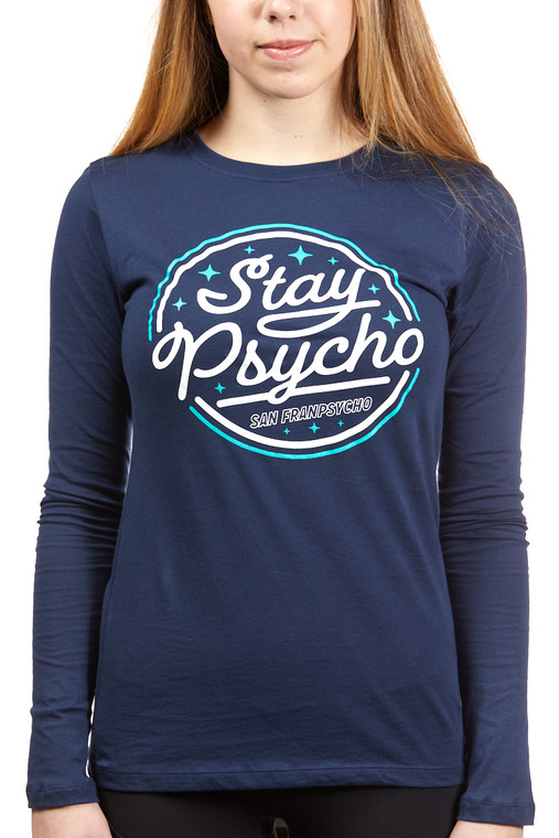 Stay Psycho Navy Long Sleeve