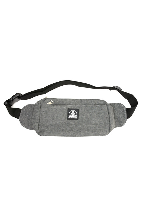 Heather Grey Sling Bag with Black/White Logo Patch