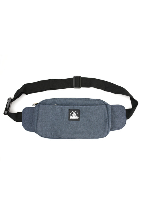 Heather Blue Sling Bag with Black/White Logo Patch