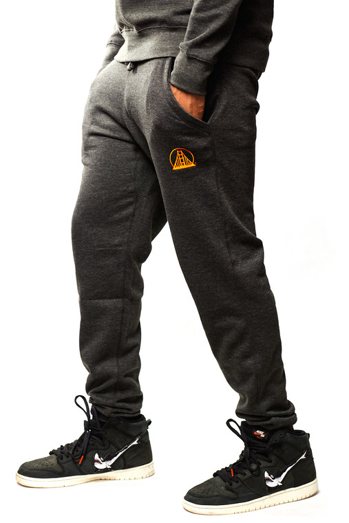 Charcoal & Orange Embroidered Joggers