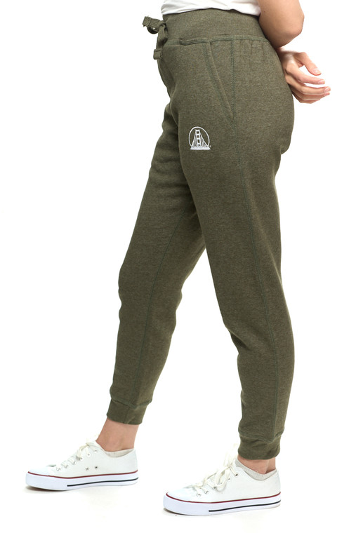 Green Embroidered Logo Joggers
