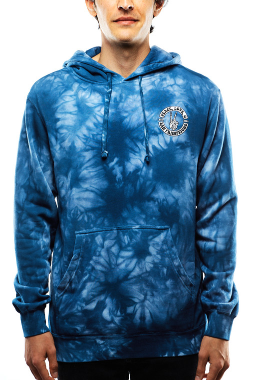 Peace, Love & San Franpsycho Navy Dyed Pullover Hoodie