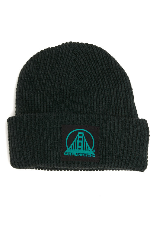 Forest Green Waffle Beanie w/ Black/Turquoise SFP Logo