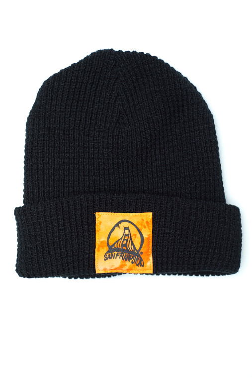 Black Waffle Beanie w/ Orange/Black Acid Logo
