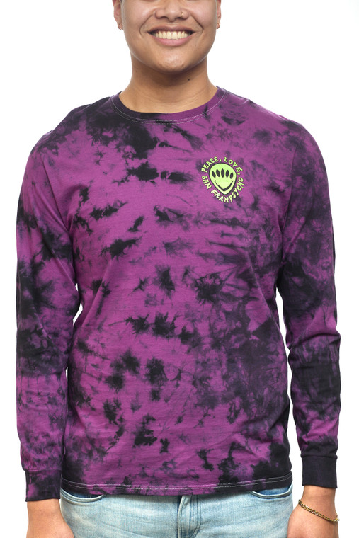 Purple Dyed Peace Love Aliens Long Sleeve