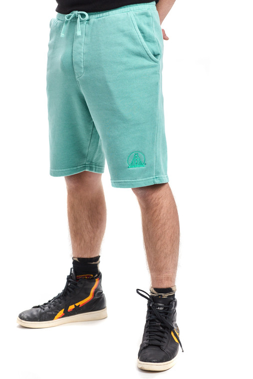 Embroidered Mint Sweat Shorts