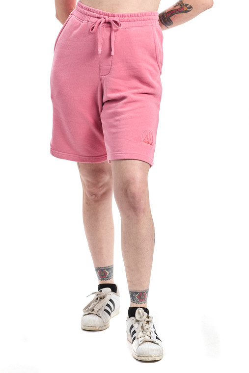 Embroidered Pink Sweat Shorts