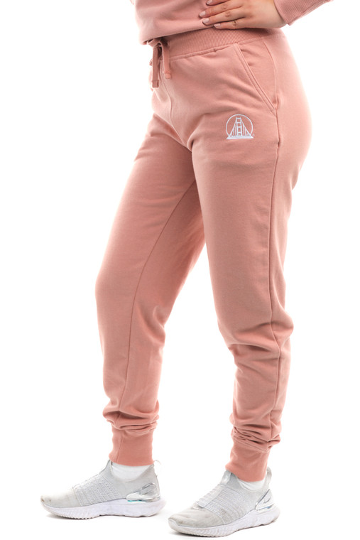 Women's Dusty Pink Embroidered Logo Joggers