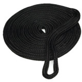 "25'- 12mm (1/2"") spliced double braid Nylon Dock Line - Black."