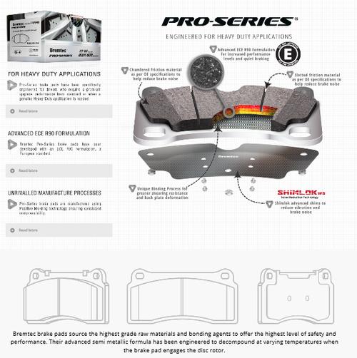 Bremtec Pro Series Front Brake Pads XR5 Turbo Mondeo