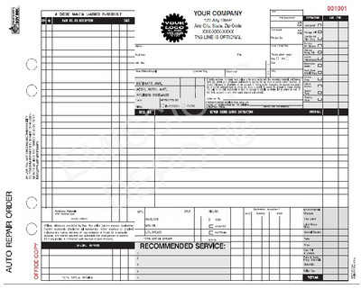 ARO-672-4 | Auto Repair Work Order, 4 Part Carbon (Not for CA) (11'' x 8.5'')