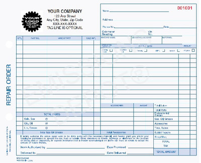 AROCC-600-3 | Automotive Repair Work Order, 3 Part Carbonless Invoice (8.5'' x 7'')