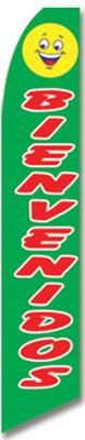 Swooper Flag - Green Smileyface Bienvenidos