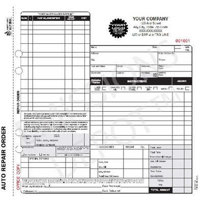 ARO-671-4 | Automotive Repair work Order - 4 Part Carbon Copy (Not Valid CA) (8.5'' x 8.5'')