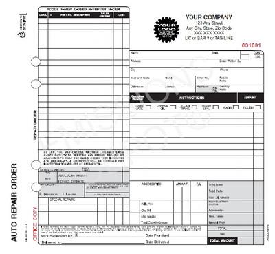 "AROCC-377-4 | Automotive Repair work Order - 4 Part Carbonless ( 8.5"" x 8.5"" ) Valid for California"