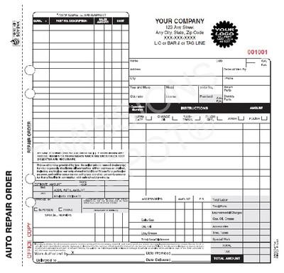 "AROCC-677-4 | Automotive Repair work Order - 4 Part Carbonless (Not Valid CA)  8.5"" x 8.5"""