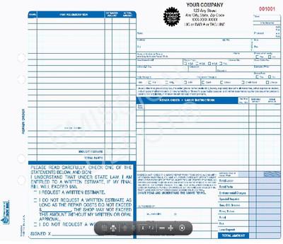 ARO-659-4   Automotive Repair Work Order -  4 Part Carbon Copy (11'' x 8.5')