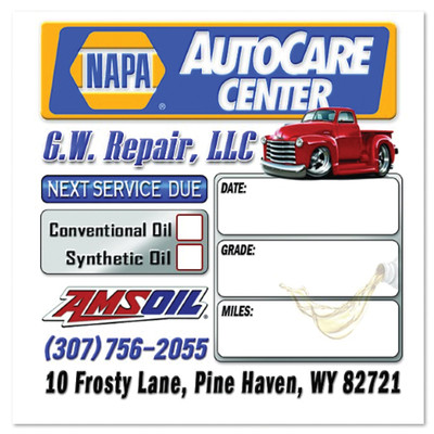 Napa Auto Care Oil Change Stickers | Full Color | Custom Designed