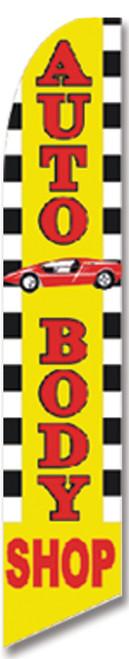 Swooper Flag - Checkered Yellow Autobody