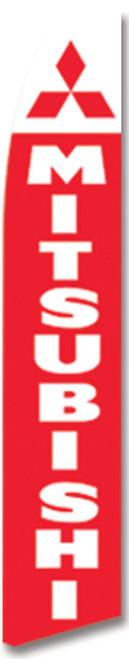 Swooper Flag - White Red Mitsubishi Logo