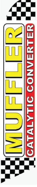 Swooper Flag - Chechered White Red Yellow Muffler Catalytic Converter