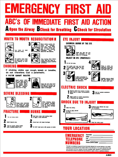 Sign - ABC's Emergency First Aid (18in x 24in)