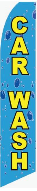 15 Ft Flag: Car Wash w/ Rain Drop, Blue