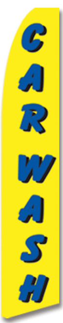 15 Ft Flag: Car Wash | Yellow w/ Blue Letters