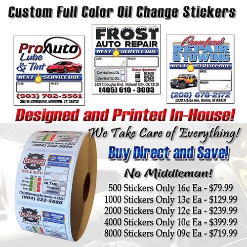 2' X 2' Oil Change  Stickers, Free Custom Graphics, Ships 1 Day After Artwork Approval!
