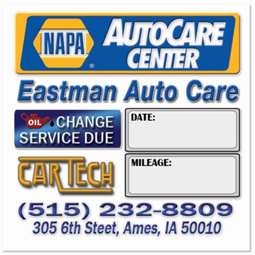 Napa Auto Care Center Oil Change Stickers for Eastman Auto