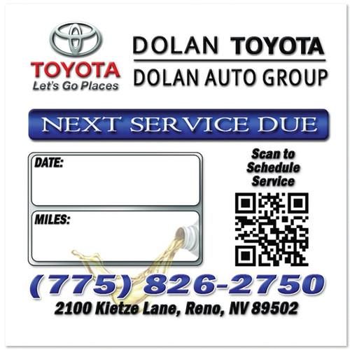 Toyota Dealership Oil Change Stickers | Full Color | Custom Designed
