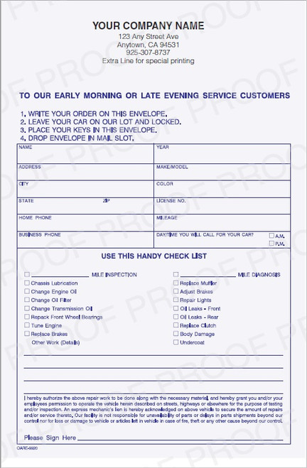 OARE-9920    Early Morning / Overnight Auto Repair Key Envelope   All Quantities Ship Free