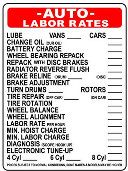 Sign - Auto Labor Rates (18in x 24in)