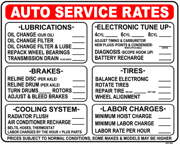 Sign - Auto Service Rates (24in x 30in)