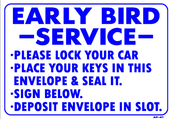 Sign - Early Bird Service (14in x 20in)