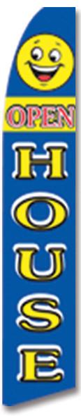 Swooper Flag - Blue Smiley Open House