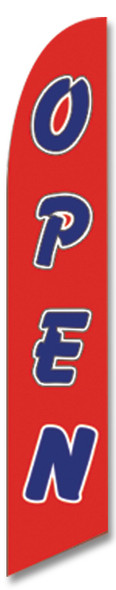 """Swooper Flag -  """"Open""""   Red Background, Blue Letters"""