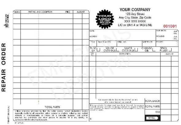 "RO-673-3 | Automotive Repair Order - 3 Part Carbon Copy (8.5"" x 5"")"